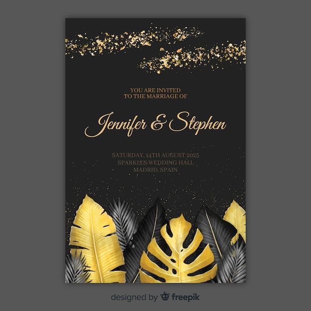 Tropical wedding invitation Free Vector