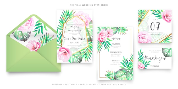 Tropical wedding stationery collection Free Vector