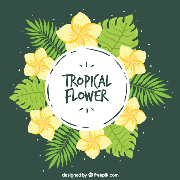 Tropical wreath background with yellow\ flowers
