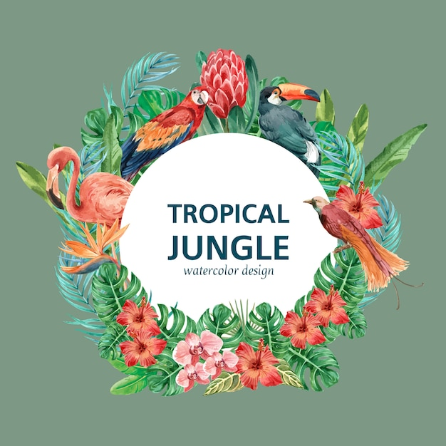 Tropical wreath swirl summer with plants foliage exotic template Free Vector