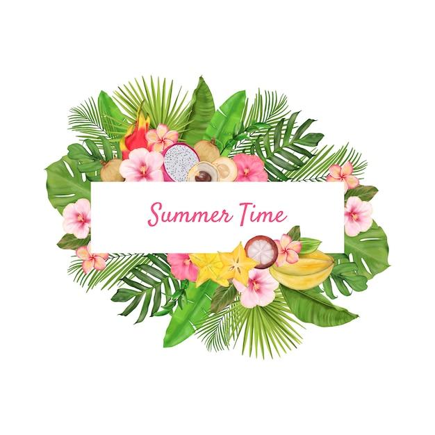 エキゾチックなフルーツ、花、葉を持つ熱帯の花輪 Premiumベクター