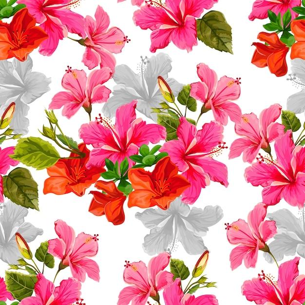 Tropicallの花のベクトル図とのシームレスなパターン Premiumベクター