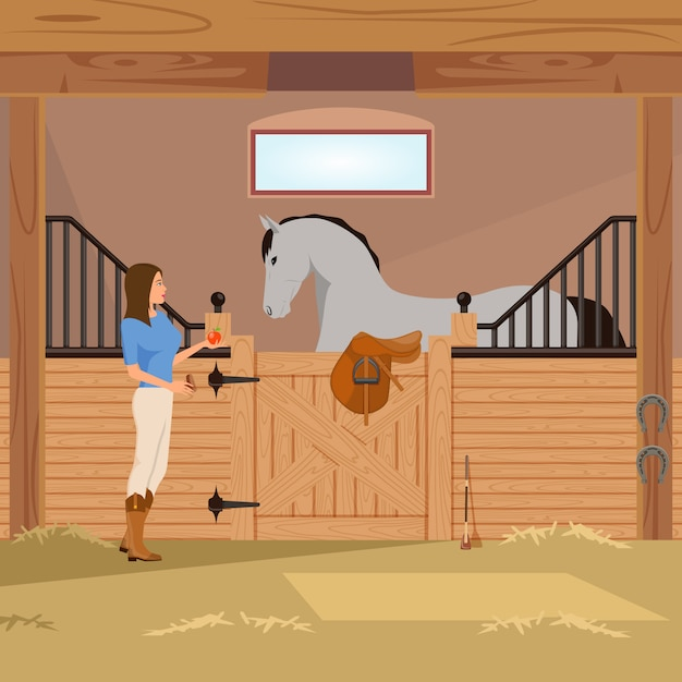 Trotter in stall flat composition Free Vector