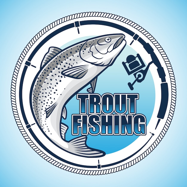 Trout anglers logo Premium Vector