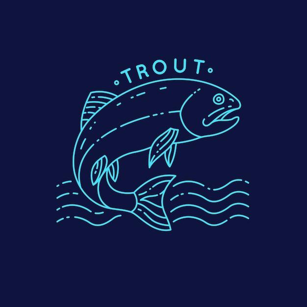 水から飛び出すマスの魚。背景のシルエットのタトゥー。 Premiumベクター