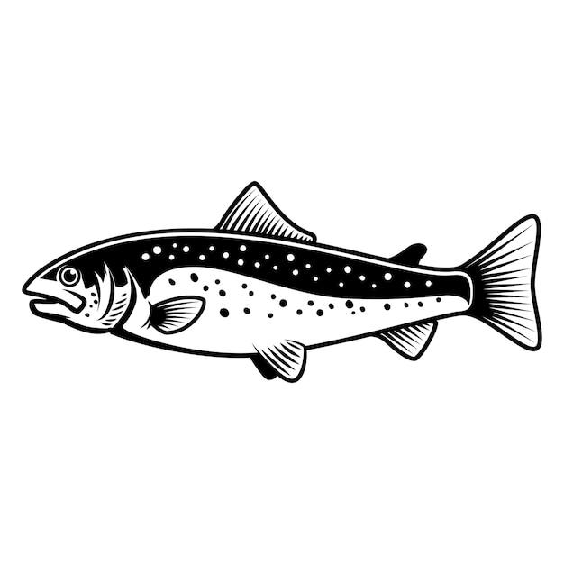 白い背景にマスの魚のサイン。サーモンフィッシング。ロゴ、ラベル、エンブレム、サインの要素。図 Premiumベクター