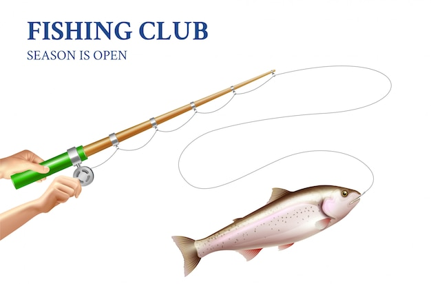 Trout fishing realistic illustration Free Vector