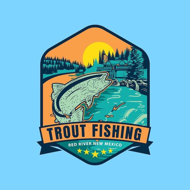 Логотип спортивного значка для ловли форели Premium векторы