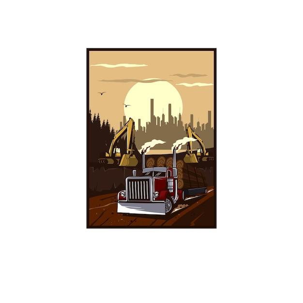 トラックと掘削機のイラストの概念 Premiumベクター