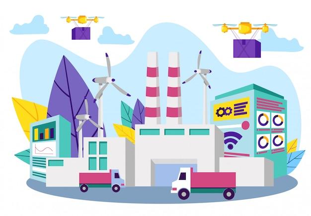 Truck on background industrial enterprise. vector. Premium Vector