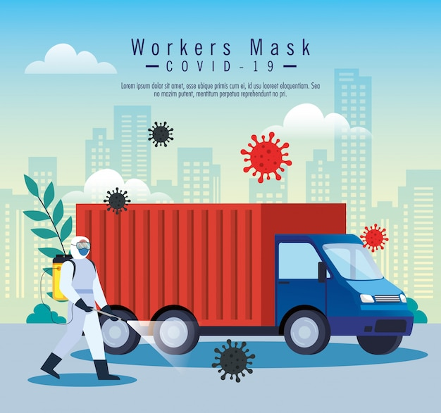 Служба дезинфекции грузовых автомобилей, профилактика коронавируса, чистка поверхностей в автомобиле с помощью дезинфицирующего спрея, лица с костюмом биологической опасности Premium векторы