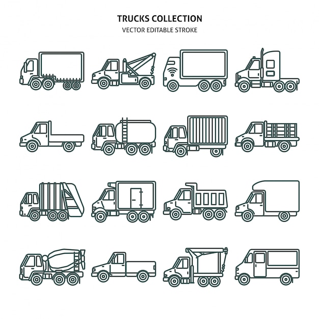 Truck cards icons set in thin line style Premium Vector
