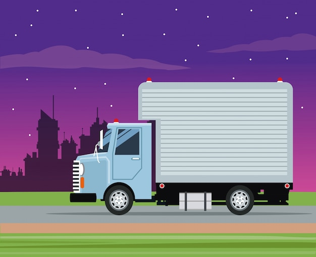 Truck cargo service transport night city Premium Vector