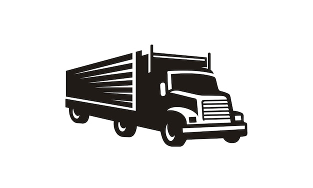 Truck clip art silhouette Premium Vector