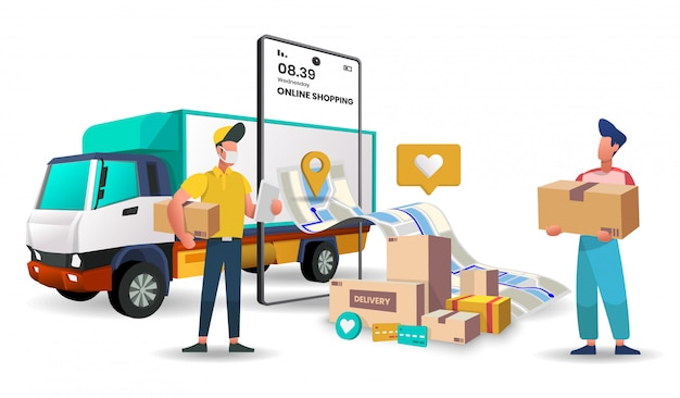 Truck delivery service for food and package online shopping delivery service. Premium Vector
