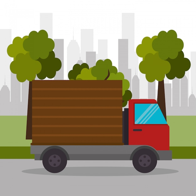 Truck delivery town transport Free Vector