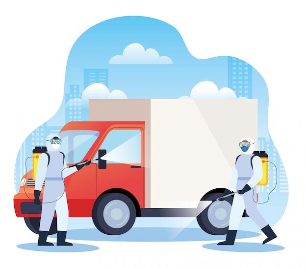 Услуги по дезинфекции грузовых автомобилей для дизайна иллюстрации болезни 19 Premium векторы