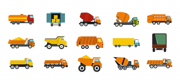Truck icon set. flat set of truck vector icons collection isolated Premium Vector