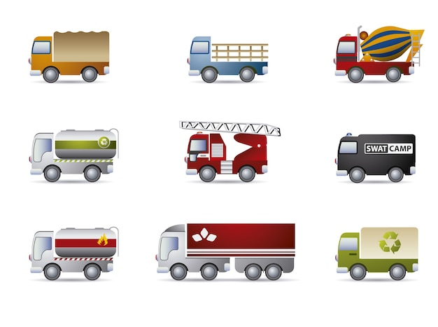 Truck icons collection Free Vector