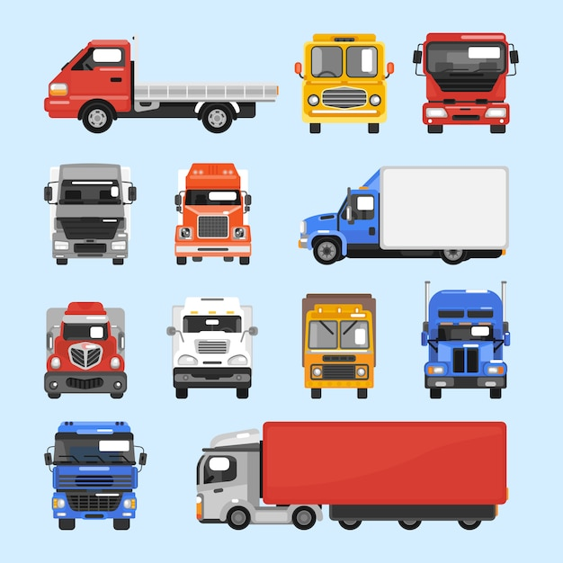 Truck icons set Free Vector