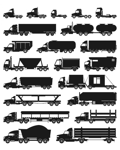 Truck isolated black set icon. Premium Vector