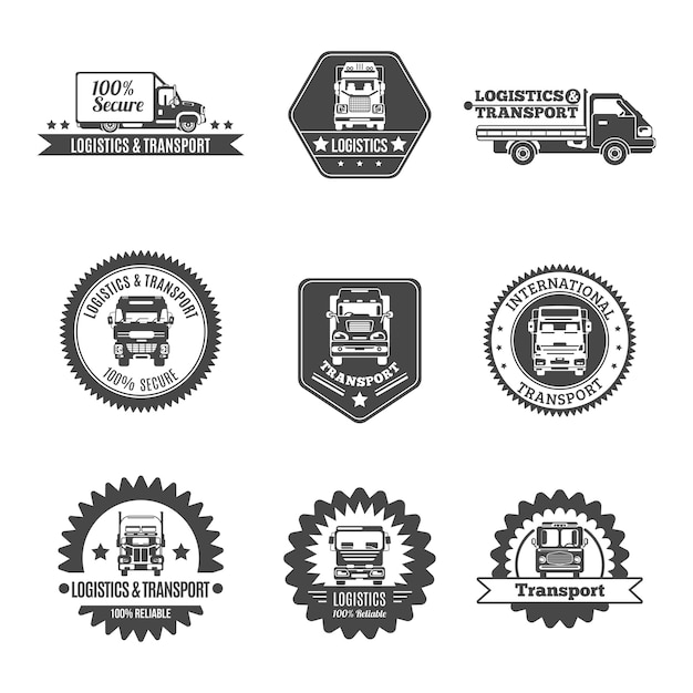 Truck label set Free Vector