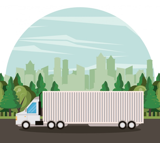 Truck logistic merchandise delivery cartoon Free Vector