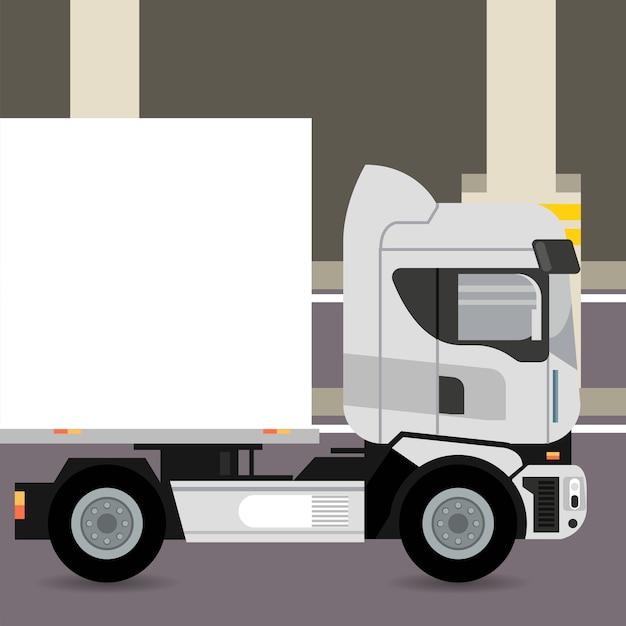 駐車場のトラックモックアップ車 Premiumベクター