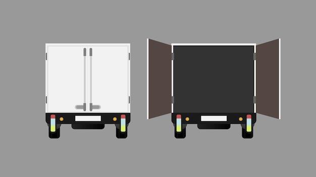 トラックの背面図を閉じて開いたトラックの図 Premiumベクター