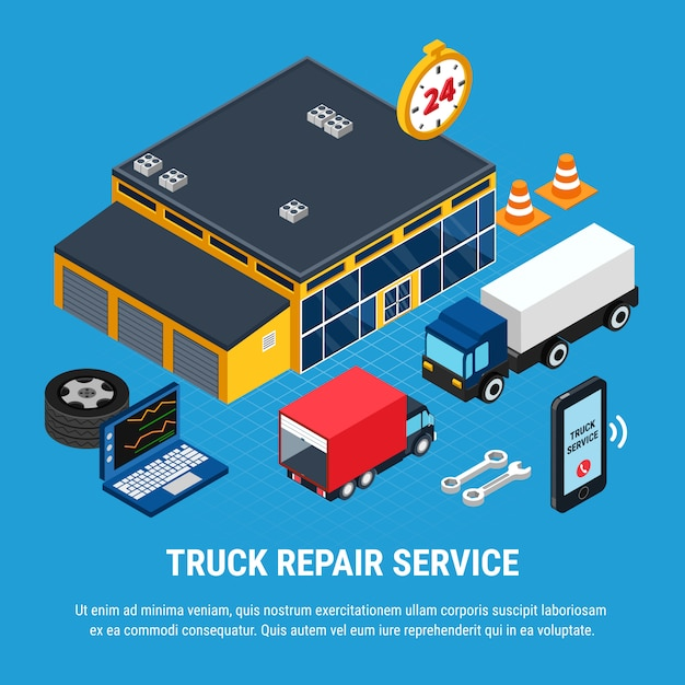 Truck repair service isometric concept with diagnostics tools vector illustration Free Vector