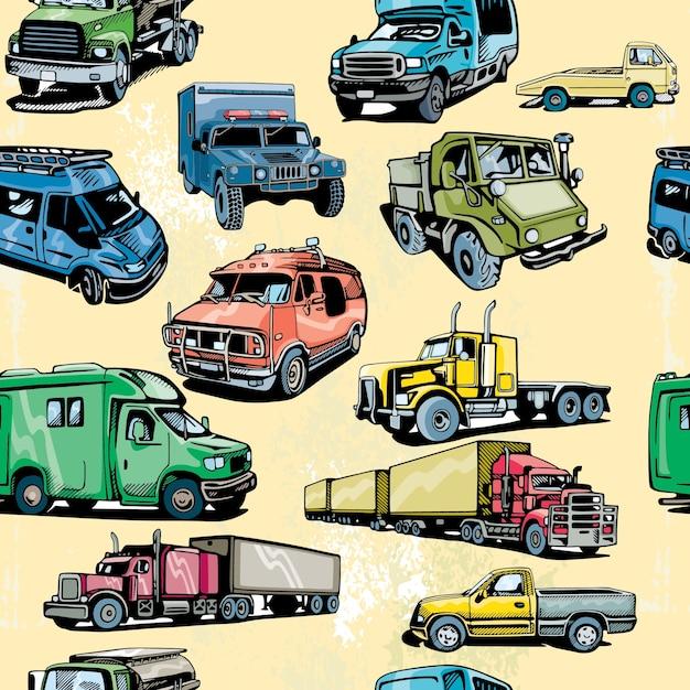 トラックシームレスパターン Premiumベクター