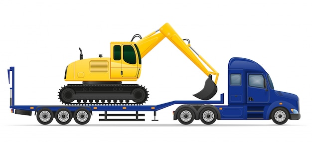 Truck semi trailer delivery and transportation of construction machinery concept vector illustration Premium Vector