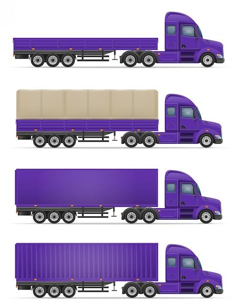 Truck semi trailer for transportation of goods vector illustration Premium Vector