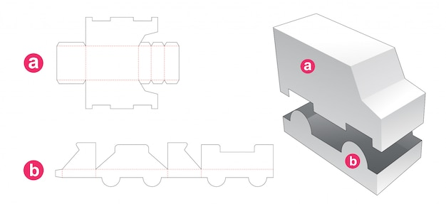 Truck shaped box and lid die cut template Premium Vector