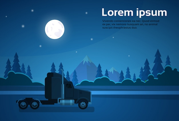 Truck trailer cabin at nght on road over mountains landscape banner with copy space Premium Vector