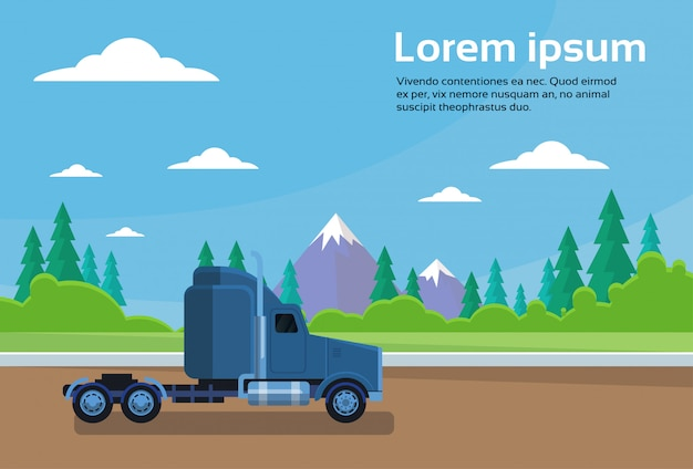 Truck trailer cabin on road over mountains landscape banner with copy space Premium Vector