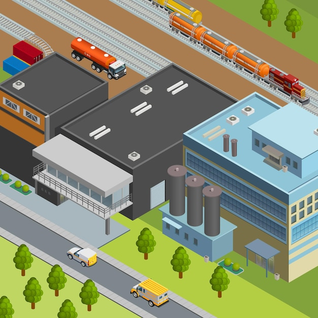Truck and train for oil transportation near refinery 3d isometric Free Vector