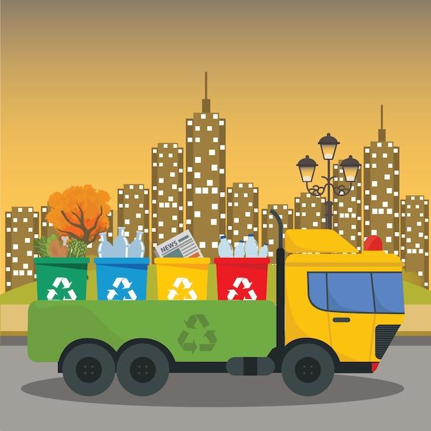 Truck transportation garbage waste disposal Premium Vector
