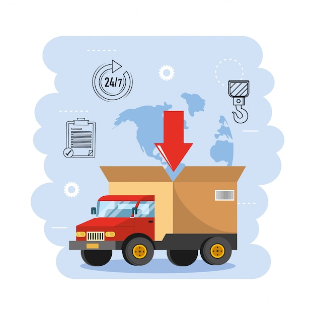 Truck transportation with box package distribution Premium Vector