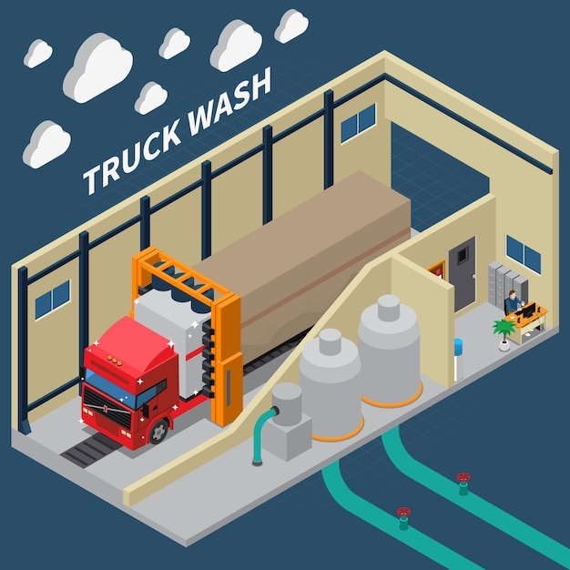 Truck wash isometric composition Free Vector
