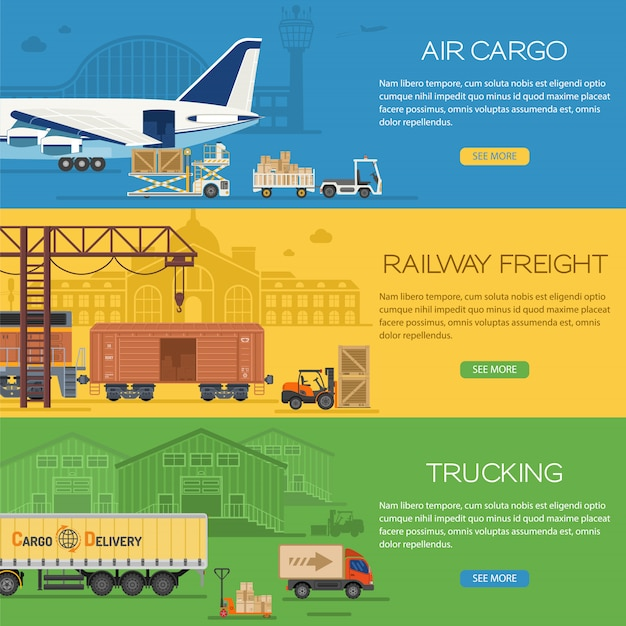 Trucking industry banners Premium Vector