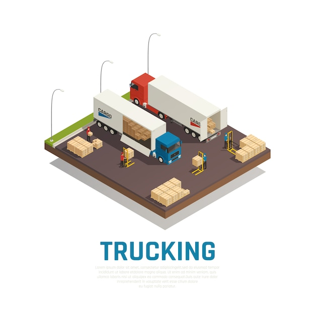 Trucking isometric composition with cargo loading and shipment to heavy vehicles Free Vector