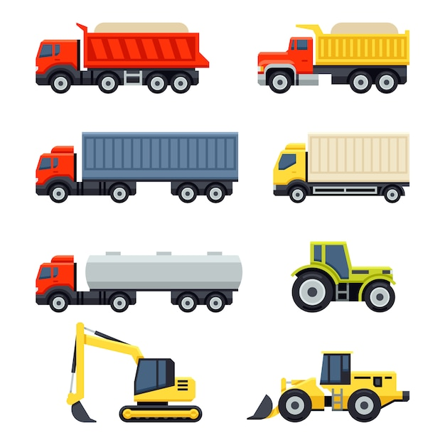 Trucks and tractors set. flat style. Premium Vector