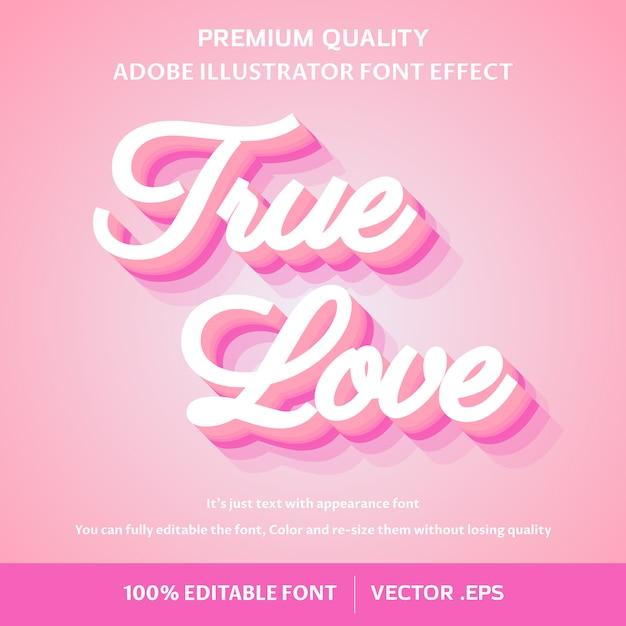 True love 3d easy editable text effect Premium Vector