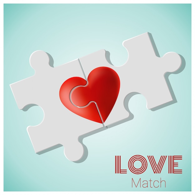 True love concept with pieces of red heart puzzle join together Premium Vector