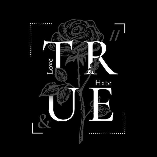 True love and hate abstract vector print design Vettore gratuito