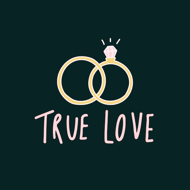 True love typography with wedding rings vector Free Vector