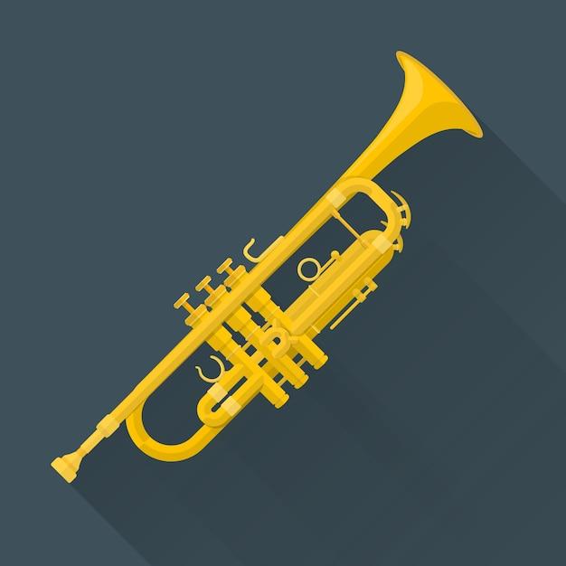 Trumpet on dark Premium Vector