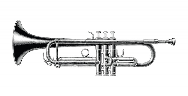 Trumpet hand draw vintage style black and white clip art isolated Premium Vector