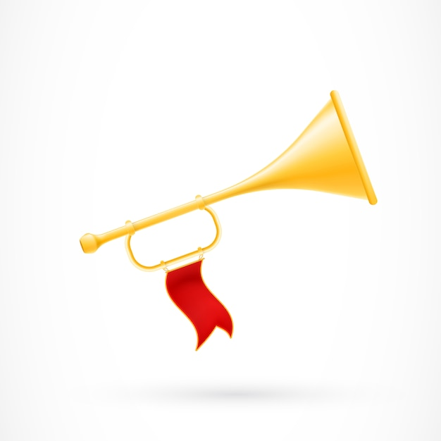 Trumpet with red flag Free Vector
